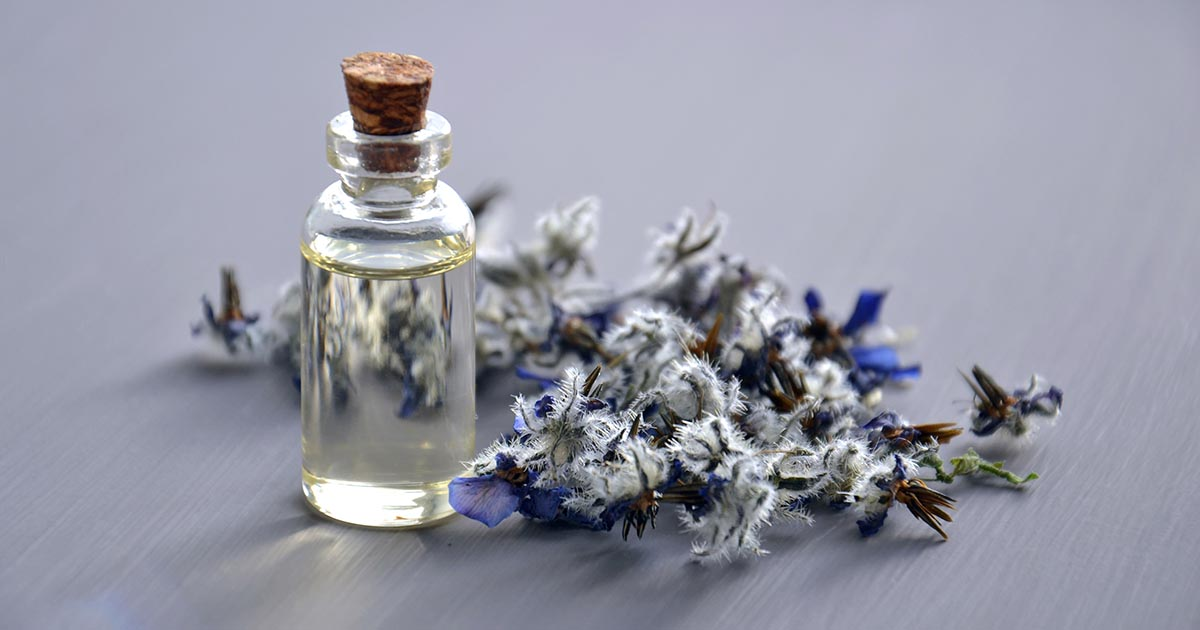 Glass bottle of essential oil with lavender beside