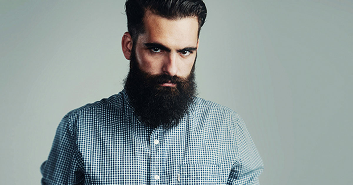 Bearded man looking angry