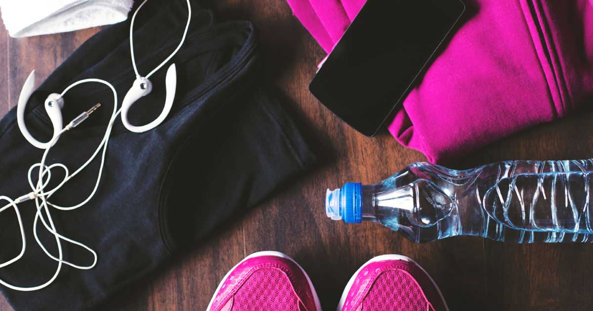 Running shoes, water bottle, headphones