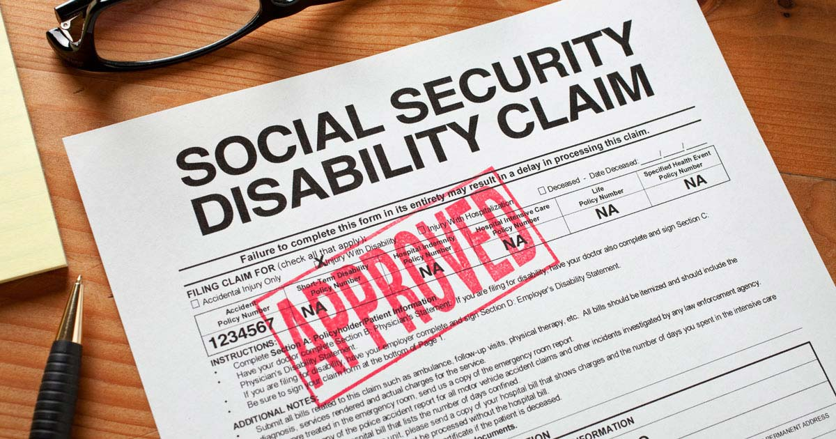 """Social Security Disability Claim"" form with approved stamp on it"
